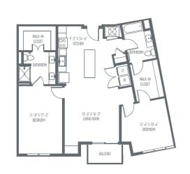 D3   D4 Floor Plan at Union Berkley, Kansas City, Missouri
