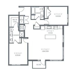 D5 Floor Plan at Union Berkley, Kansas City