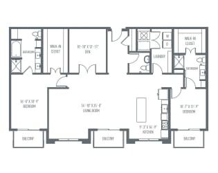 P2 Floor Plan at Union Berkley, Kansas City, MO, 64120