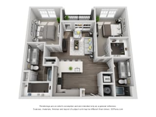 C1 2 Bed 2 Bath Floor Plan at Central Island Square, Daniel Island, SC, 29492
