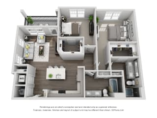 C3 2 Bed 2 Bath Floor Plan at Central Island Square, Daniel Island, 29492