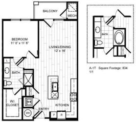 Floor Plan 1 Bed, 1 Bath - A1T