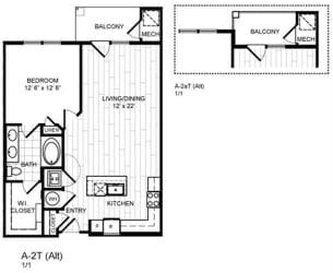 Floor Plan 1 Bed, 1 Bath - A2T