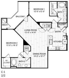 Floor Plan 2 Bed, 2 Bath - C1