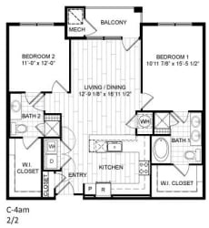 Floor Plan 2 Bed, 2 Bath - C4am