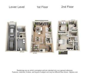 Floor Plan 3 Bed, 2.5 Bath TH