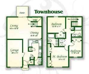 Floor Plan The Willow Townhouse w Gar