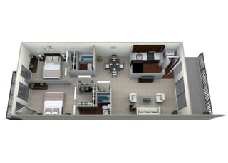3D floorplan for 2 bed 2 bath 978sf, at Brook View Apartments, Maryland, 21209