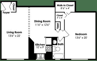 Cardiff Hall Apartments 1 Bedroom 1 Bath 995 sf