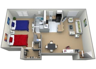 Floorplan for 1 bed 1 bath 995sf, at Cardiff Hall Apartments, 8001 York Road, Towson