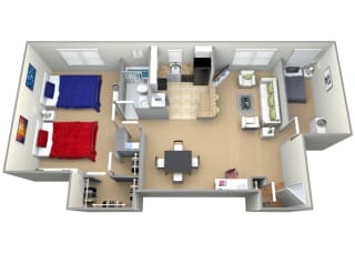 Floorplan for 1 bed 1 bath 1200sf, at Cardiff Hall Apartments, Towson, MD