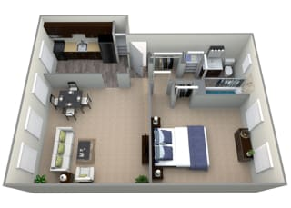 Floorplan for 1 bed 1 bath 677sfat Mount Ridge Apartments, 201 South Symington Avenue , Baltimore