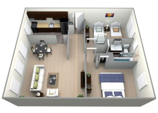 3D Floorplan for 2 bed 1 bath 829sf, at Mount Ridge Apartments, Baltimore, Maryland