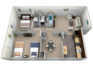 3D Floorplan for 2 bed 1 bath 900sf, at Mount Ridge Apartments, Maryland, 21228