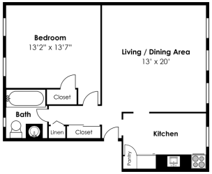 2D Floorplan for 1 bed 1 bath 677sf, at Mount Ridge Apartments, Baltimore, MD