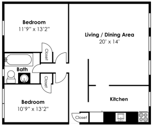 2D Floorplan for 2 bed 1 bath 829sf, at Mount Ridge Apartments, Baltimore, 21228