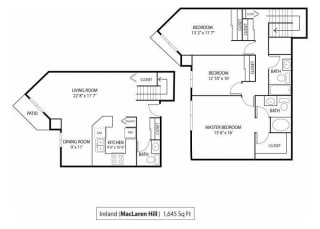 MacLaren Hill Apartments in St. Paul, MN 3 Bedroom 2.5 Bathroom Apartment