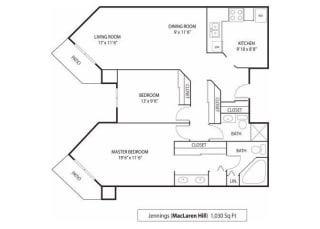 MacLaren Hill Apartments in St. Paul, MN 2 Bedroom 1 Bathroom Apartment