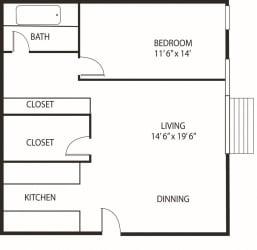 Lou Park Apartments in St. Louis Park, MN 1 Bedroom 1 Bathroom Floor Plan