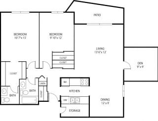 Oakwood Apartments in Plymouth, MN 2 Bedroom 1.5 Bath Plus Den