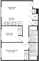 Degree 2 Bedroom Floorplan