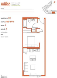 The Union Portland OR 1 Bedroom Sq Ft 541 Unit C1-2