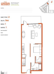 The Union Portland OR 1 Bedroom Sq Ft 769 Unit L1-2