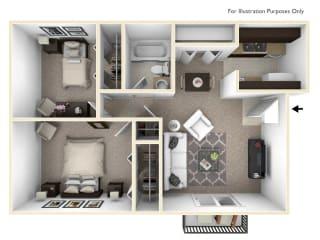 The Chateau - 2 BR 1 BA Floor Plan at Bavarian Village Apartments, Indianapolis, 46235