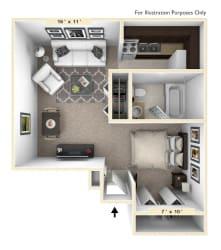 The Villa Studio Floor Plan at Bavarian Village Apartments, Indianapolis, Indiana