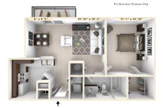 The Harrison - 1 BR 1 BA Floor Plan at Enclave Apartments, Midlothian, VA
