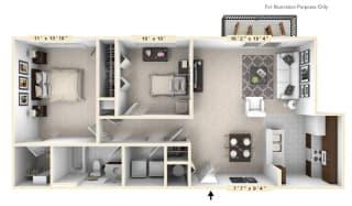 The Monroe - 2 BR 1 BA Floor Plan at Enclave Apartments, Midlothian, Virginia