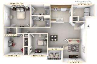 The Admiral - 3 BR 2 BA Floor Plan at Scarborough Lake Apartments, Indianapolis