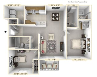 The Captain - 2 BR 2 BA Floor Plan at Scarborough Lake Apartments, Indianapolis, Indiana