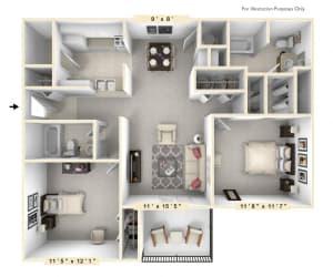 The Marina - 2 BR 2 BA Floor Plan at Scarborough Lake Apartments, Indianapolis, 46254