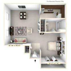 The Sand Dollar Studio Floor Plan at Scarborough Lake Apartments, Indianapolis, Indiana