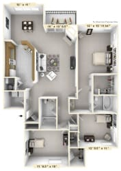 The Admiral - 3 BR 2 BA Floor Plan at WaterFront Apartments, Virginia Beach, VA