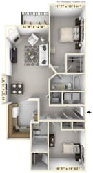 The Captain's Quarters - 2 BR 2 BA Floor Plan at WaterFront Apartments, Virginia, 23453
