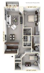 The Clipper - 2 BR 1 BA Floor Plan at WaterFront Apartments, Virginia Beach, Virginia
