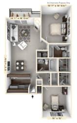 The Galleon - 2 BR 2 BA Floor Plan at WaterFront Apartments, Virginia Beach, VA, 23453