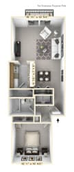 The Lakeshore - 1 BR 1 BA Floor Plan at WaterFront Apartments, Virginia Beach, VA, 23453