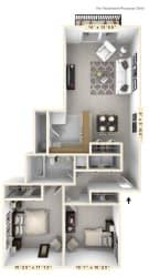 The Nautical - 2 BR 1 BA Floor Plan at WaterFront Apartments, Virginia Beach