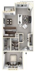 The Schooner - 1 BR 1 BA Floor Plan at WaterFront Apartments, Virginia Beach, VA