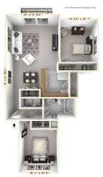 The Surfside - 2 BR 1 BA Floor Plan at WaterFront Apartments, Virginia