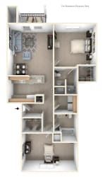 Two Bedroom Two Bath Floorplan at Colonial Pointe at Fairview Apartments, Nebraska, 68123
