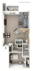 One Bedroom End Floor Plan at The Crossings Apartments, Grand Rapids, 49508