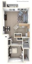 One Bedroom End Floor Plan at West Hampton Park Apartment Homes, Elkhorn, NE, 68022