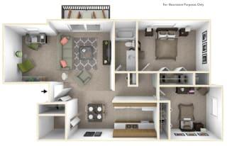 2-Bed/1-Bath, Dahlia Deluxe Floor Plan at Beacon Hill Apartments, Rockford, IL, 61109