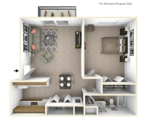 1-Bed/1-Bath, Primrose Floor Plan at Beacon Hill Apartments, Rockford, IL