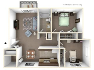 2-Bed/1-Bath, Dahlia Floor Plan at Fox Pointe Apartments, Illinois