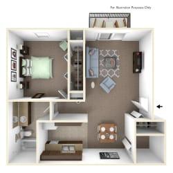 1-Bed/1-Bath, Magnolia Floor Plan at Fox Pointe Apartments, East Moline